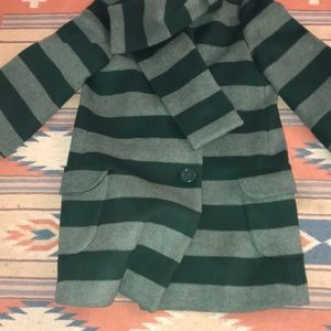 Kate Spade ♠️ Wool Green striped Lined Coat